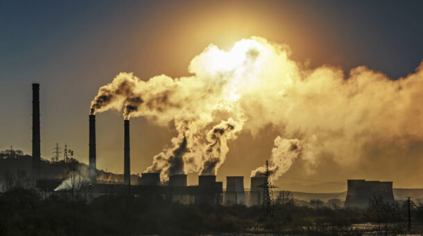 smoke pipe polluting air smoke