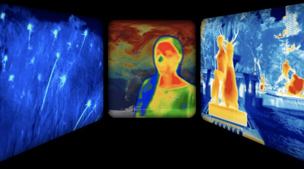 A painting made up of three sections showing heatmap images