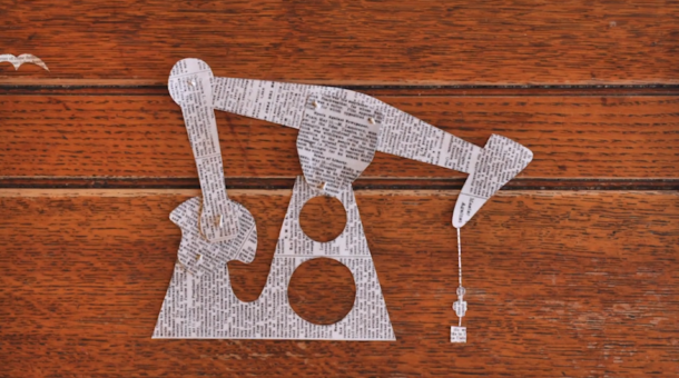 2D image of oil pump cut from newspaper