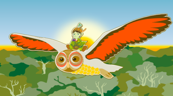 forest sprite Ghilllie Dhu riding owl flying over forest